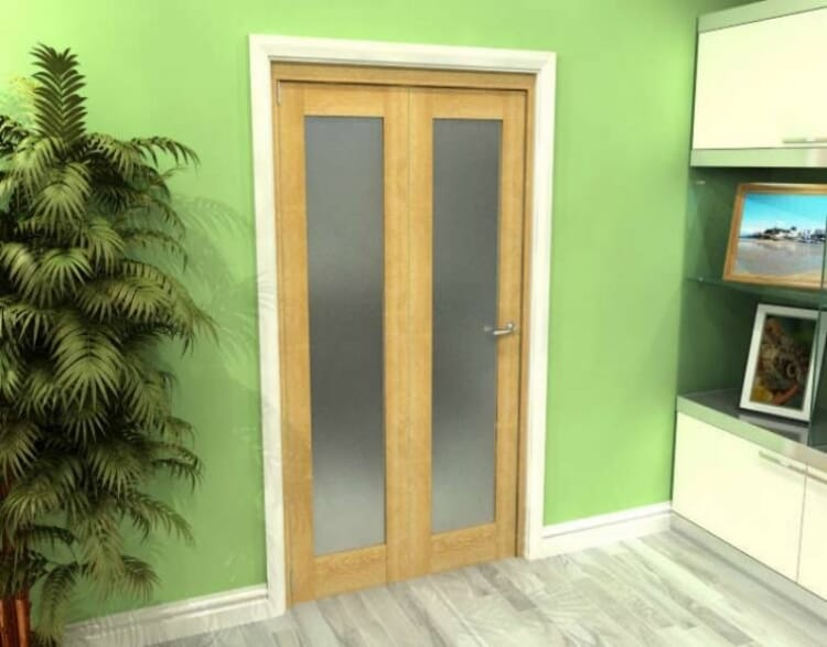 Frosted Glazed Oak 2 Door Roomfold Grande (2 + 0 X 533mm Doors) Image