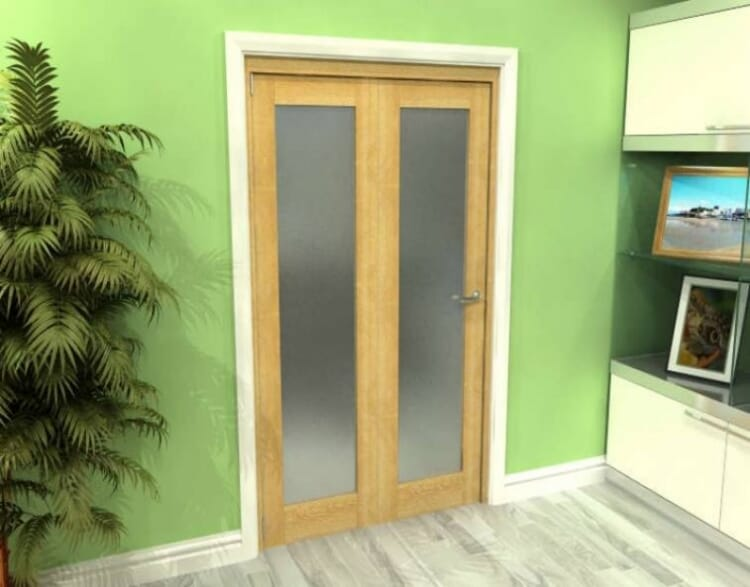 Frosted Glazed Oak 2 Door Roomfold Grande (2 + 0 X 573mm Doors) Image