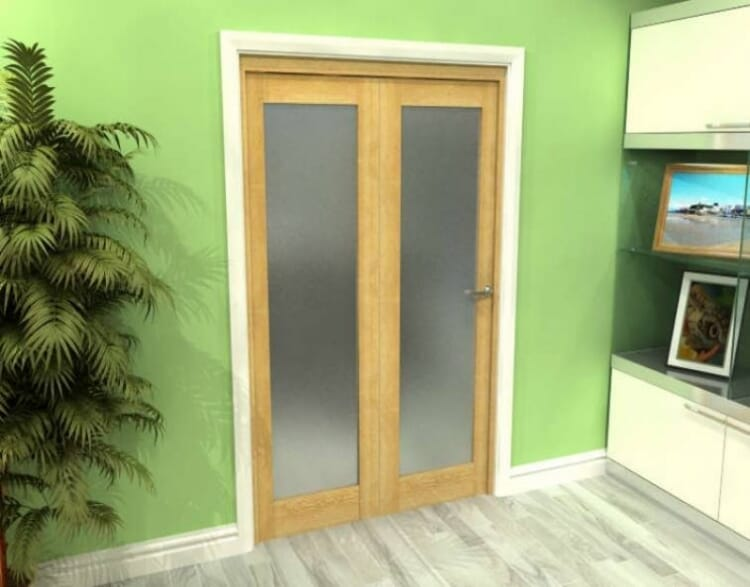Frosted Glazed Oak 2 Door Roomfold Grande (2 + 0 X 610mm Doors) Image