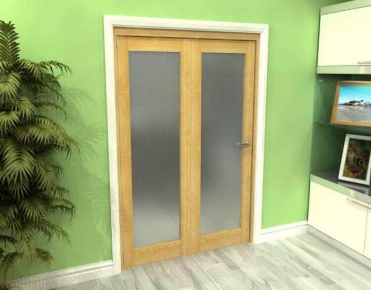 Frosted Glazed Oak 2 Door Roomfold Grande (2 + 0 X 686mm Doors) Image