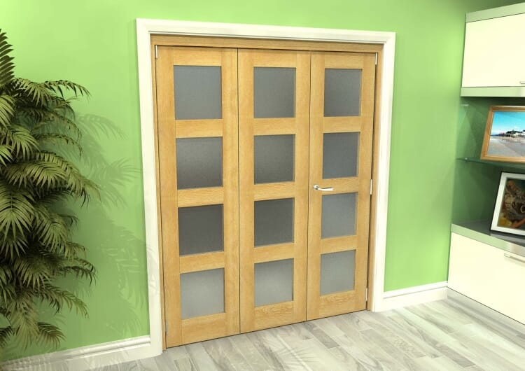 Frosted Glazed Oak 3 Door 4l Roomfold Grande (2 + 1 X 533mm Doors) Image