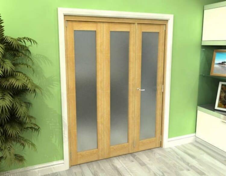 Frosted Glazed Oak 3 Door Roomfold Grande 1800mm (6ft) 2 + 1 Set Image
