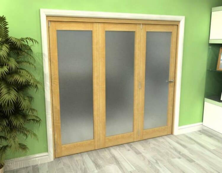 Frosted Glazed Oak 3 Door Roomfold Grande 1800mm (6ft) 3 + 0 Set Image