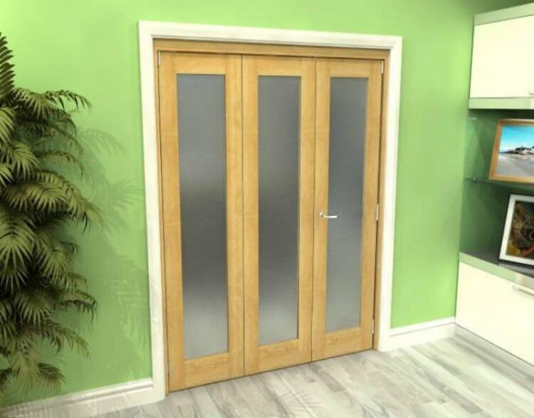 Frosted Glazed Oak 3 Door Roomfold Grande (2 + 1 X 533mm Doors) Image