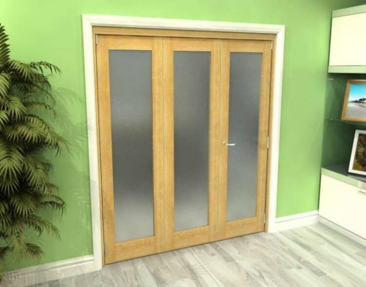 Frosted Glazed Oak 3 Door Roomfold Grande (2 + 1 X 610mm Doors) Image