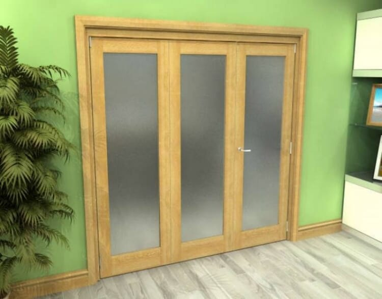 Frosted Glazed Oak 3 Door Roomfold Grande (2 + 1 X 686mm Doors) Image