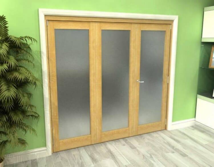 Frosted Glazed Oak 3 Door Roomfold Grande (2 + 1 X 762mm Doors) Image