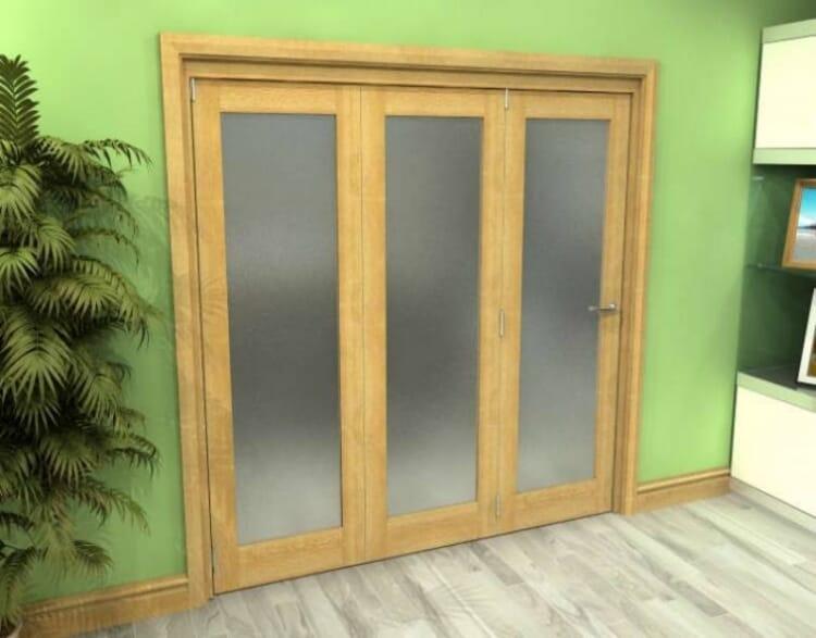 Frosted Glazed Oak 3 Door Roomfold Grande (3 + 0 X 762mm Doors) Image