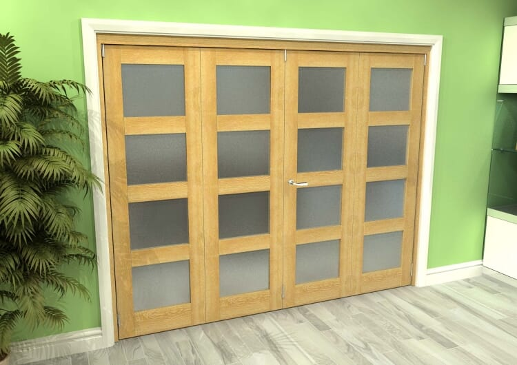 Frosted Glazed Oak 4 Door 4l Roomfold Grande (2 + 2 X 610mm Doors) Image