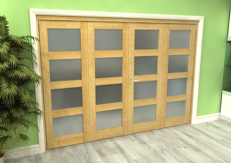 Frosted Glazed Oak 4 Door 4l Roomfold Grande (2 + 2 X 762mm Doors) Image