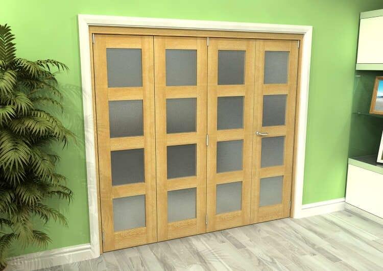Frosted Glazed Oak 4 Door 4l Roomfold Grande (3 + 1 X 533mm Doors) Image