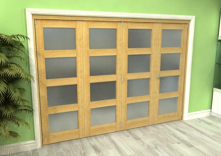 Frosted Glazed Oak 4 Door 4l Roomfold Grande (3 + 1 X 762mm Doors) Image