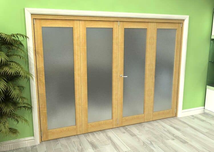Frosted Glazed Oak 4 Door Roomfold Grande (2 + 2 X 686mm Doors) Image