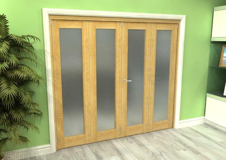 Frosted Glazed Oak 4 Door Roomfold Grande 2400mm (8ft) 2 + 2 Set Image