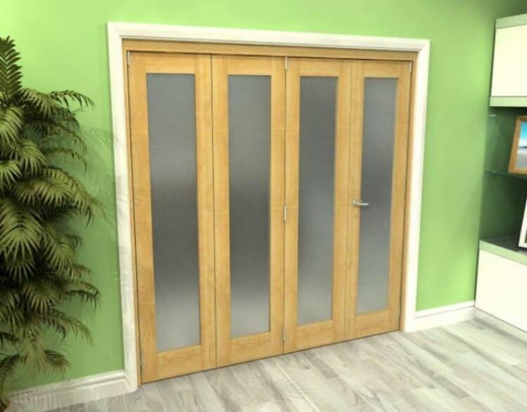 Frosted Glazed Oak 4 Door Roomfold Grande (3 + 1 X 533mm Doors) Image