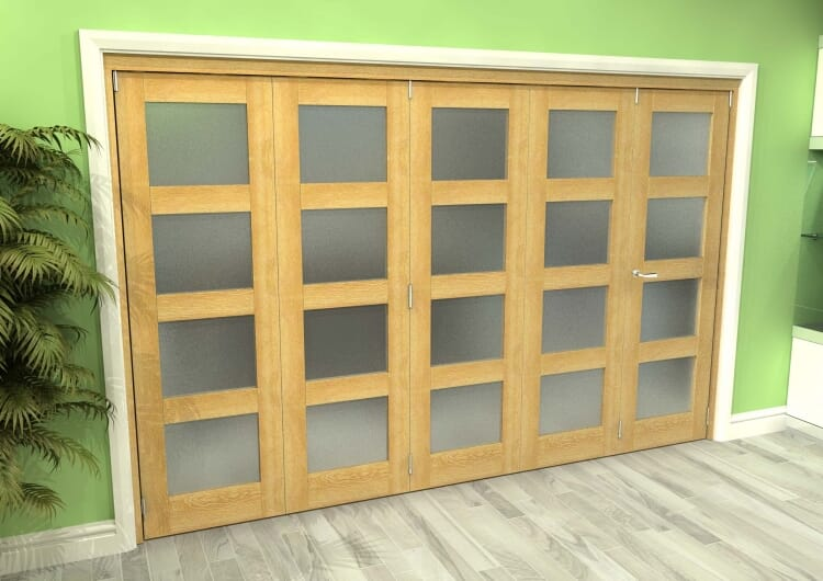 Frosted Glazed Oak 5 Door 4l Roomfold Grande (4 + 1 X 686mm Doors) Image
