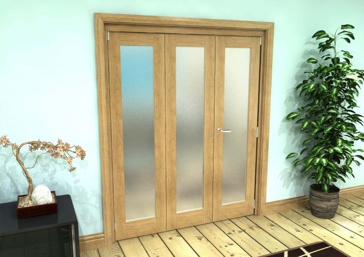 Frosted Glazed Oak Prefinished 3 Door Roomfold Grande (2 + 1 X 533mm Doors) Image