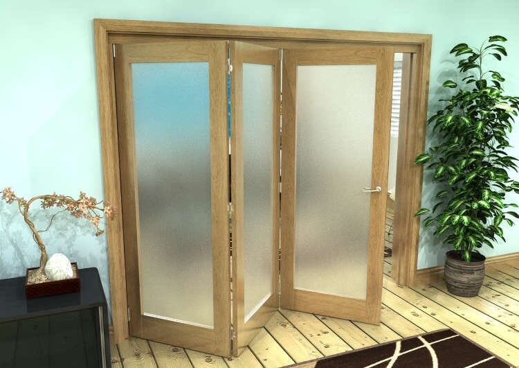 Frosted Glazed Oak Prefinished 3 Door Roomfold Grande (3 + 0 X 762mm Doors) Image
