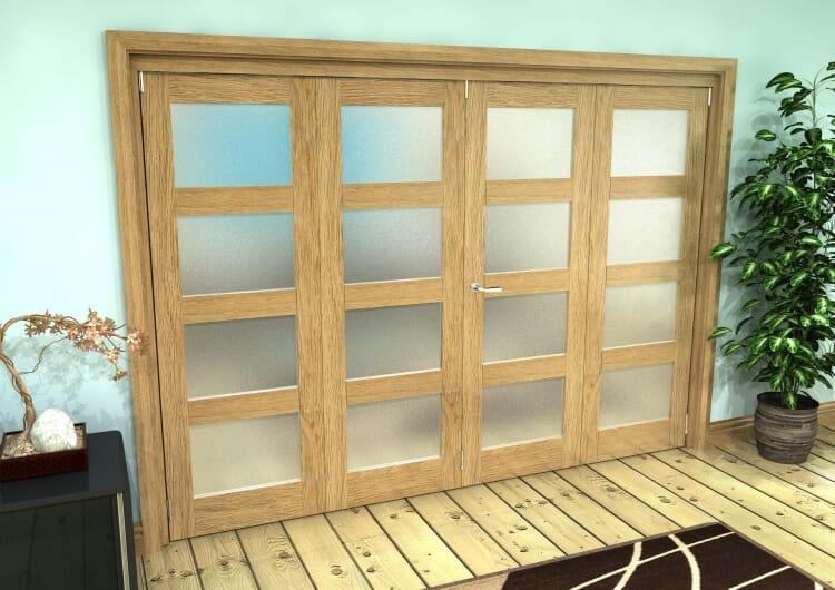 Frosted Glazed Oak Prefinished 4 Door 4l Roomfold Grande (3 + 1 X 686mm Doors) Image