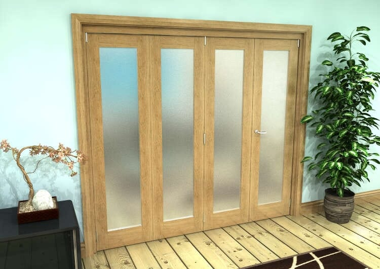 Frosted Glazed Oak Prefinished 4 Door Roomfold Grande (3 + 1 X 533mm Doors) Image
