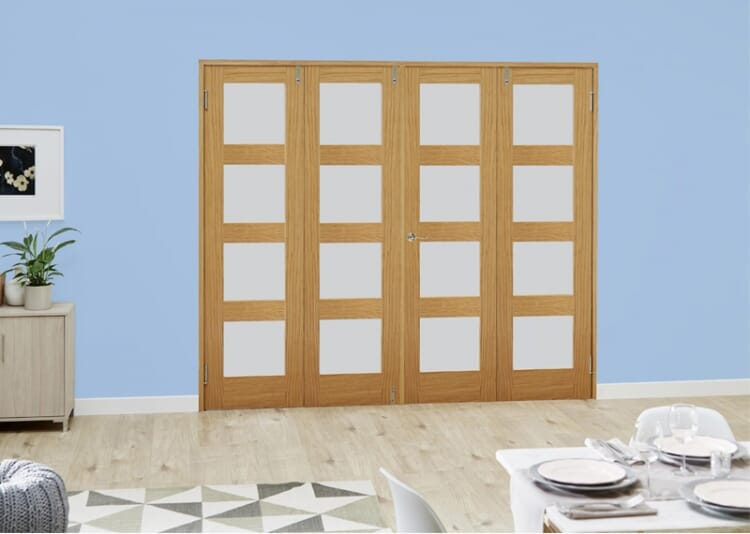 Frosted Glazed Oak Unfinished 4l 4 Door Shaker Frenchfold (4 X 2