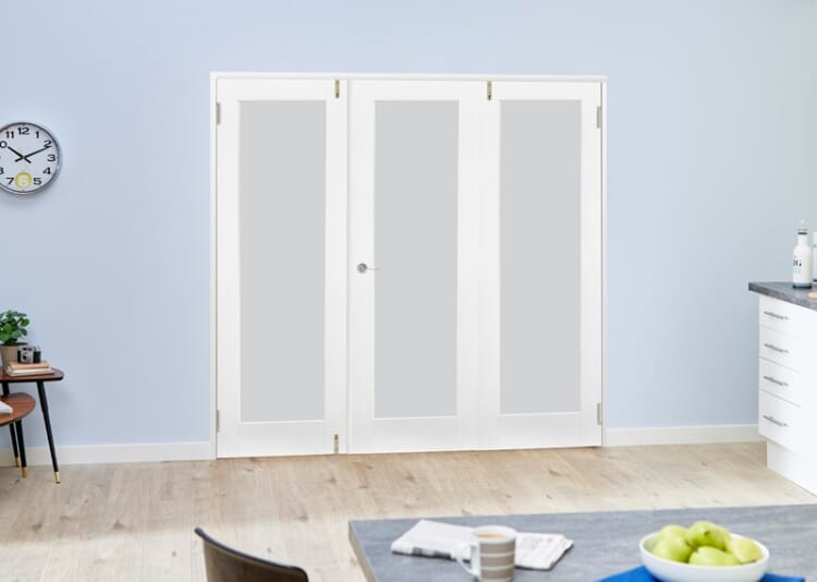 Frosted Glazed White Primed Shaker 3 Door Frenchfold (3 X 1