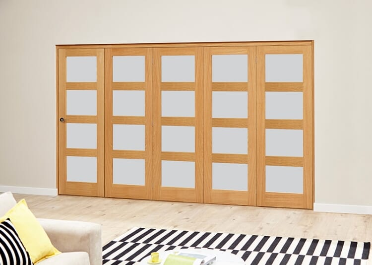 Frosted Prefinished 4l Roomfold Deluxe (5 X 610mm Doors) Image
