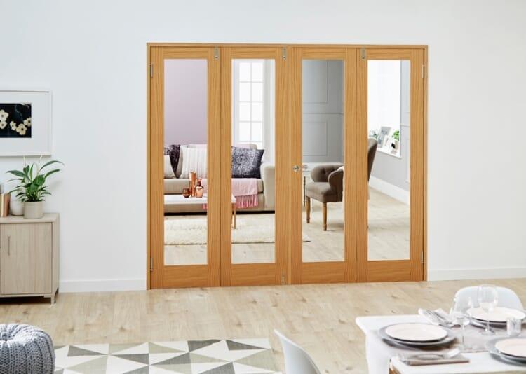 Glazed Oak - 4 Door Frenchfold 8ft (2374mm) Set Image