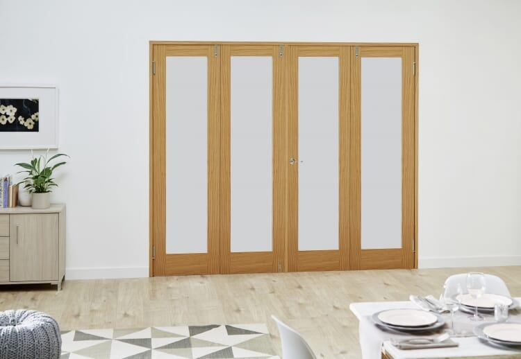 Glazed Oak - 4 Door Frosted Frenchfold (4 X 1