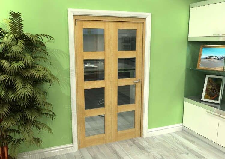 Glazed Oak 2 Door 4l Roomfold Grande (2 + 0 X 533mm Doors) Image
