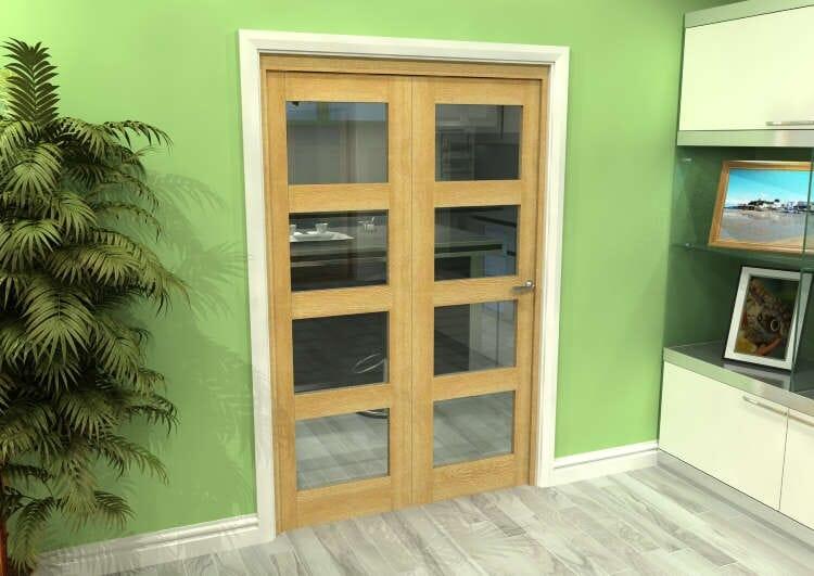 Glazed Oak 2 Door 4l Roomfold Grande (2 + 0 X 610mm Doors) Image