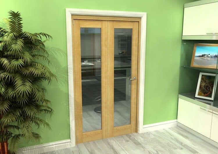 Glazed Oak 2 Door Roomfold Grande (2 + 0 X 533mm Doors) Image