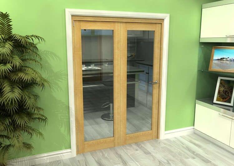 Glazed Oak 2 Door Roomfold Grande (2 + 0 X 762mm Doors) Image