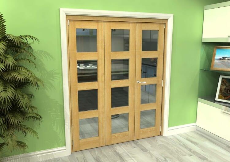 Glazed Oak 3 Door 4l Roomfold Grande (2 + 1 X 533mm Doors) Image