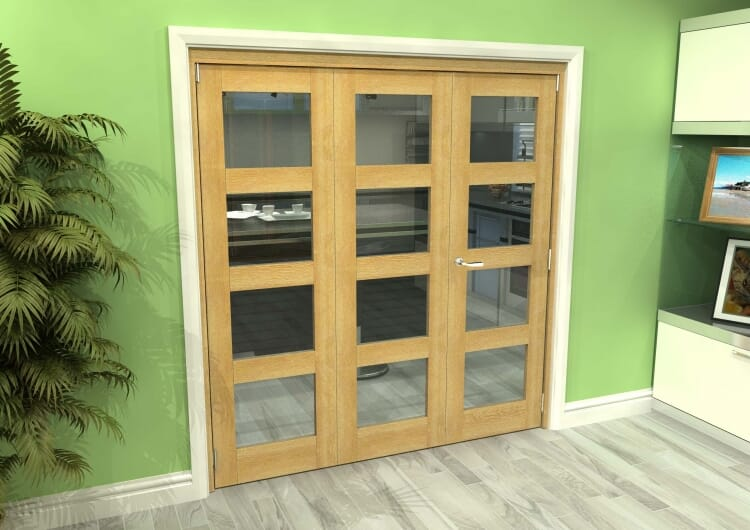 Glazed Oak 3 Door 4l Roomfold Grande (2 + 1 X 610mm Doors) Image