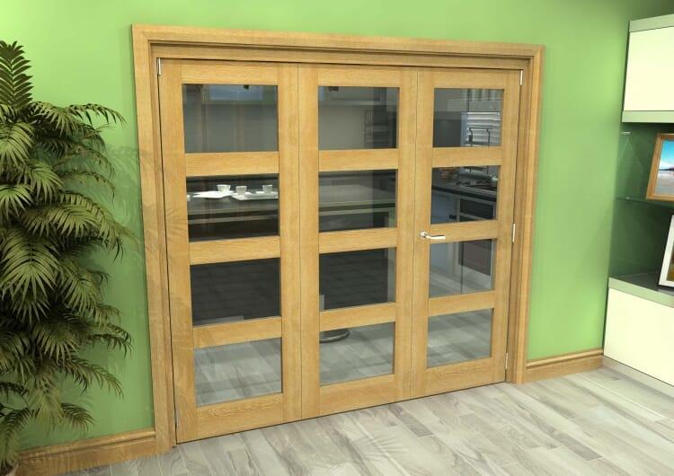 Glazed Oak 3 Door 4l Roomfold Grande (2 + 1 X 686mm Doors) Image