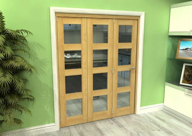 Glazed Oak 3 Door 4l Roomfold Grande (3 + 0 X 533mm Doors) Image