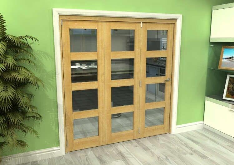 Glazed Oak 3 Door 4l Roomfold Grande (3 + 0 X 610mm Doors) Image