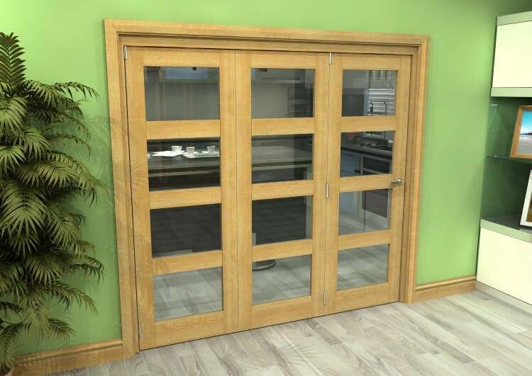 Glazed Oak 3 Door 4l Roomfold Grande (3 + 0 X 686mm Doors) Image