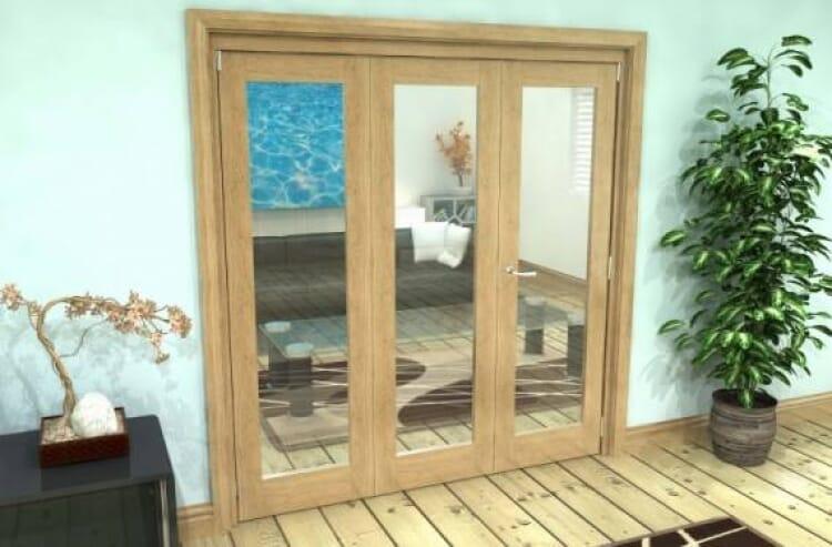 Glazed Oak 3 Door Roomfold Grande 2 + 1 X 1800mm (6ft) Set Image