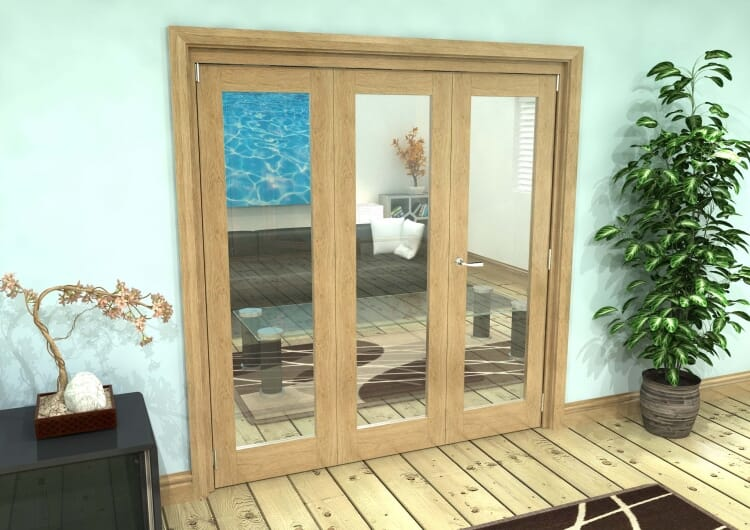 Glazed Oak 3 Door Roomfold Grande (2 + 1 X 686mm Doors) Image