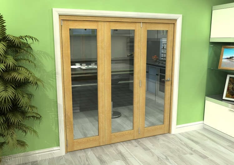 Glazed Oak 3 Door Roomfold Grande (3 + 0 X 610mm Doors) Image