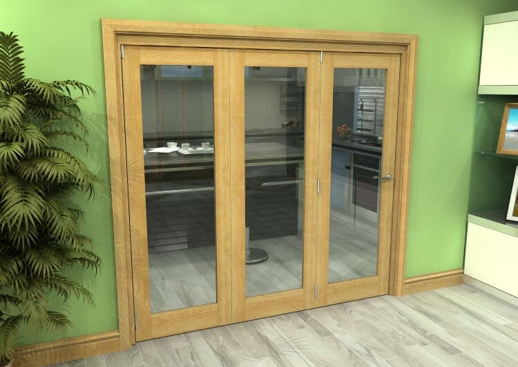 Glazed Oak 3 Door Roomfold Grande (3 + 0 X 686mm Doors) Image