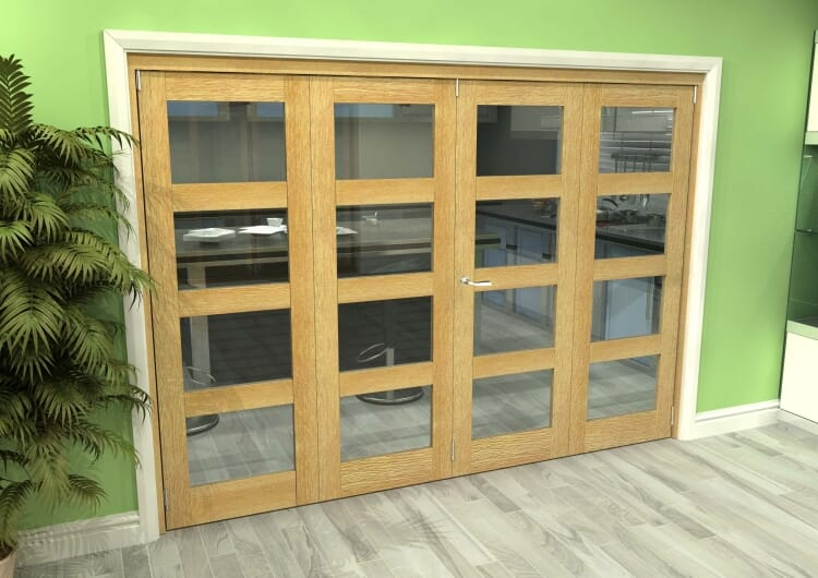 Glazed Oak 4 Door 4l Roomfold Grande (2 + 2 X 686mm Doors) Image