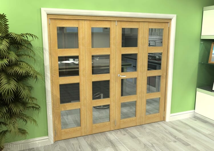Glazed Oak 4 Door 4l Roomfold Grande 2400mm (8ft) 2 + 2 Set Image