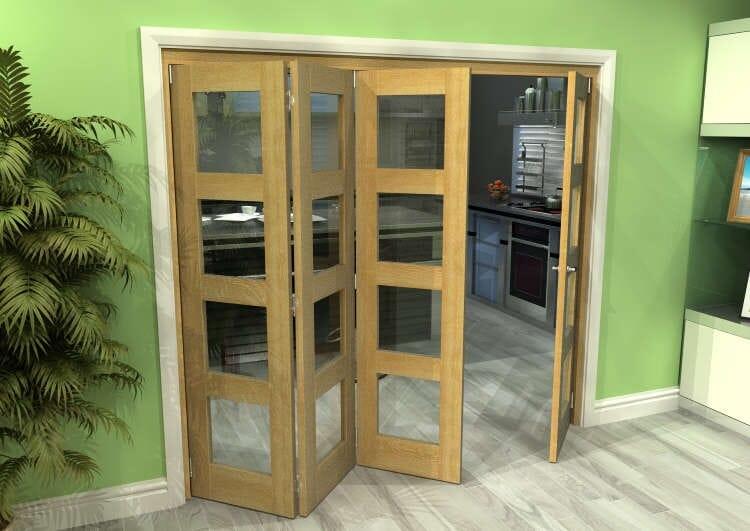 Glazed Oak 4 Door 4l Roomfold Grande 2400mm (8ft) 3 + 1 Set Image