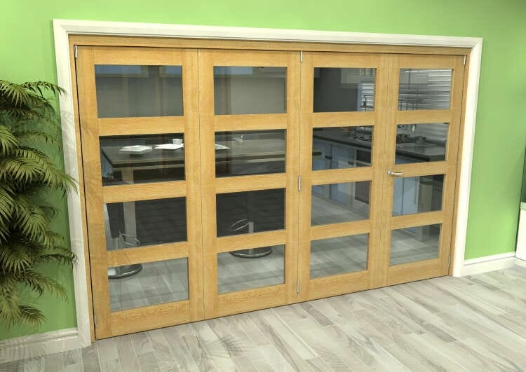 Glazed Oak 4 Door 4l Roomfold Grande (3 + 1 X 762mm Doors) Image