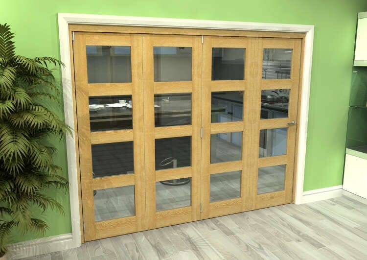 Glazed Oak 4 Door 4l Roomfold Grande (4 + 0 X 610mm Doors) Image
