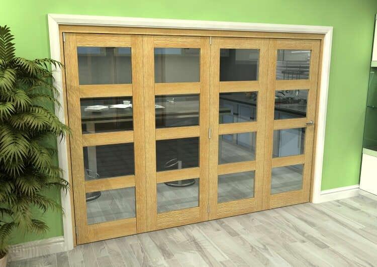 Glazed Oak 4 Door 4l Roomfold Grande (4 + 0 X 686mm Doors) Image