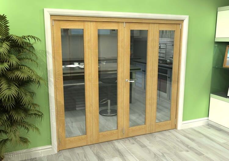 Glazed Oak 4 Door Roomfold Grande (2 + 2 X 533mm Doors) Image